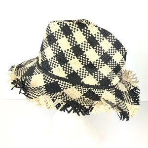 Topshop Foldable Straw Hat Checker Distress Edge
